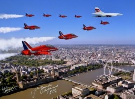 Signed Concorde and Red Arrows over London - 16x12