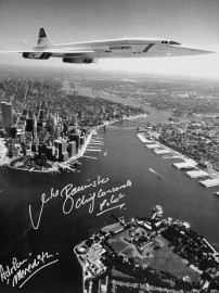 Concorde over Manhattan Showing the Twin Towers..Black & White Signed 16x12
