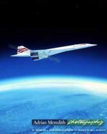 Concorde Over Earth Curvature 1988 - 16x12