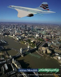 Concorde Over London 1998 in Chatham Union Jack Livery - 16x12