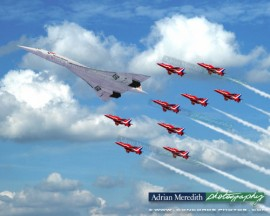 Concorde G-BOAD and The Red Arrows - 16x12