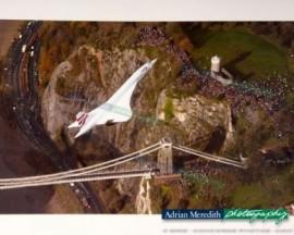 Concorde over Clifton Suspension Bridge, Bristol - 16x12