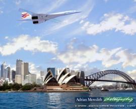 Concorde over Sydney Harbour Australia 1996 - 20x16