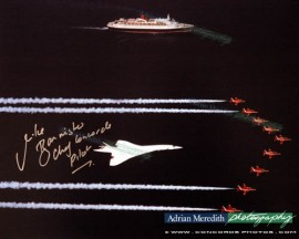 Concorde with QEII and Red Arrows - Signed 16x12
