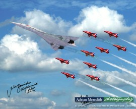 Concorde G-BOAD and The Red Arrows - Fly Past for the Queens Golden Jubilee Celebrations 4th June 2002 - Signed 16x12