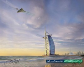 Concorde G-BOAG Flying over Burj Al Arab Hotel Dubai - Signed 16x12