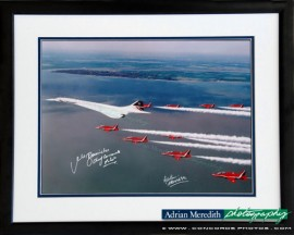 Concorde and The Red Arrows 1997 - Framed and Signed 16x12