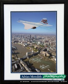 Concorde Over London 1998 in Chatham Union Jack Livery - Framed and Signed 16x12