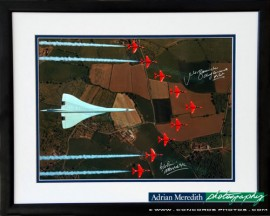 Concorde and The Red Arrows over the British Isles - Framed and Signed 16x12