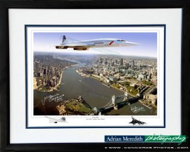 Concorde Over New York and London Montage - Framed and Signed 16x12