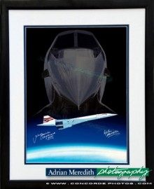 Concorde with Nose Dropped Over Earth Curvature - Framed and Signed 16x12