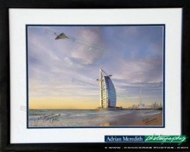 Concorde G-BOAG Flying over Burj Al Arab Hotel Dubai - Framed and Signed 16x12