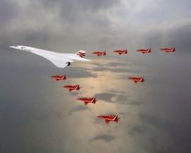 Concorde & Red Arrows over Noth Sea Queens Jubliee 2002 - 16x12