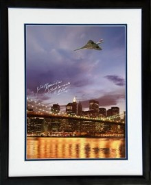 Concorde over Brooklyn Bridge New York