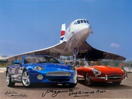 Best of British Concorde with E Type & Aston Martin DB7 ..16x12 Signed by Mike Bannister and Photographer Adrian Meredith