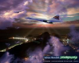 Concorde over Sugar Loaf Mountain, Rio de Janeiro Showing Cristo Redentor 1998 - 12x10