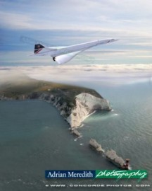 Concorde G-BOAG Flying over the Needles Isle of Wight England 1986 - 16x12