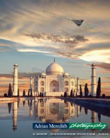 Concorde G-BOAF Flying over Taj Mahal India - 16x12