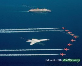 Concorde and Red Arrows with QEII 1985 - 20x16