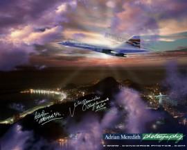 Concorde over Sugar Loaf Mountain Rio de Janeiro Showing Cristo Redentor 1998 - Signed 16x12