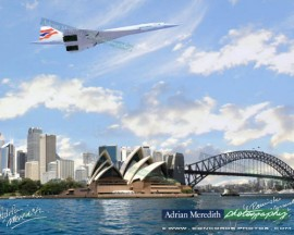 Concorde over Sydney Harbour Australia 1996 - Signed 16x12