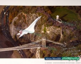 Concorde over Clifton Suspension Bridge, Bristol - Signed 16x12