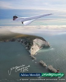 Concorde G-BOAG Flying over the Needles Isle of Wight England 1986 - Signed 16x12
