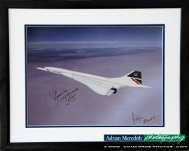 Concorde G-BOAG over Preswick, Scotland - Framed and Signed 16x12