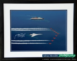 Concorde with QEII and Red Arrows - Framed and Signed 16x12