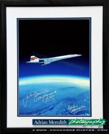 Concorde Over Earth Curvature 1988 - Framed and Signed 16x12
