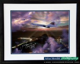 Concorde over Sugar Loaf Mountain Rio de Janeiro Showing Cristo Redentor 1998 - Framed and Signed 16x12