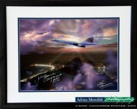 Concorde over Sugar Loaf Mountain Rio de Janeiro Showing Cristo Redentor 1998 - Framed and Signed 16x12