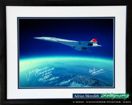 Concorde Soars Over Earth Curvature 1988 - Framed and Signed 16x12